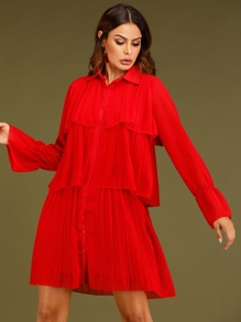 Layered Pleated Flounce Sleeve Shirt Dress