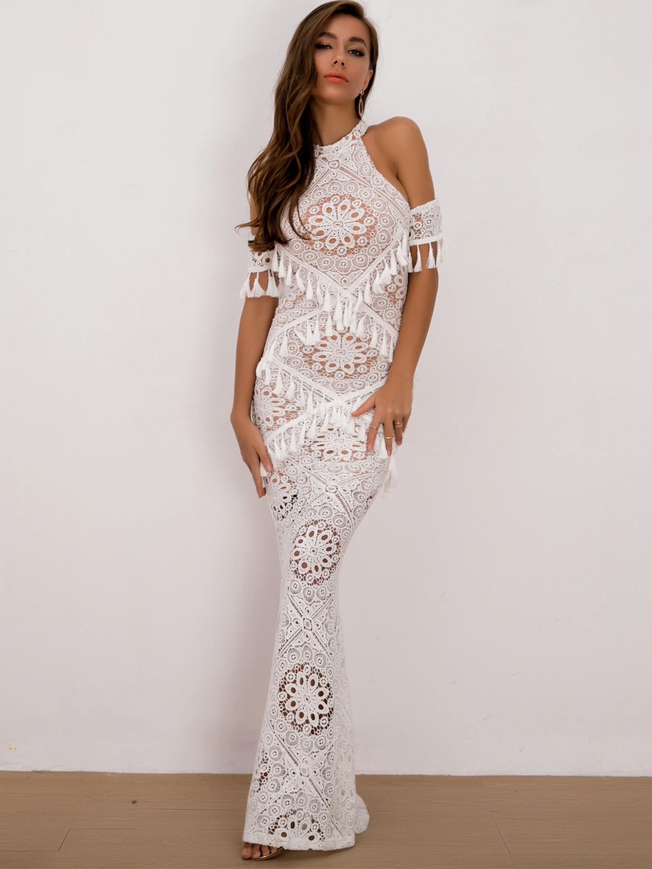 Joyfunear кружевное платье с открытыми плечами и бахромой