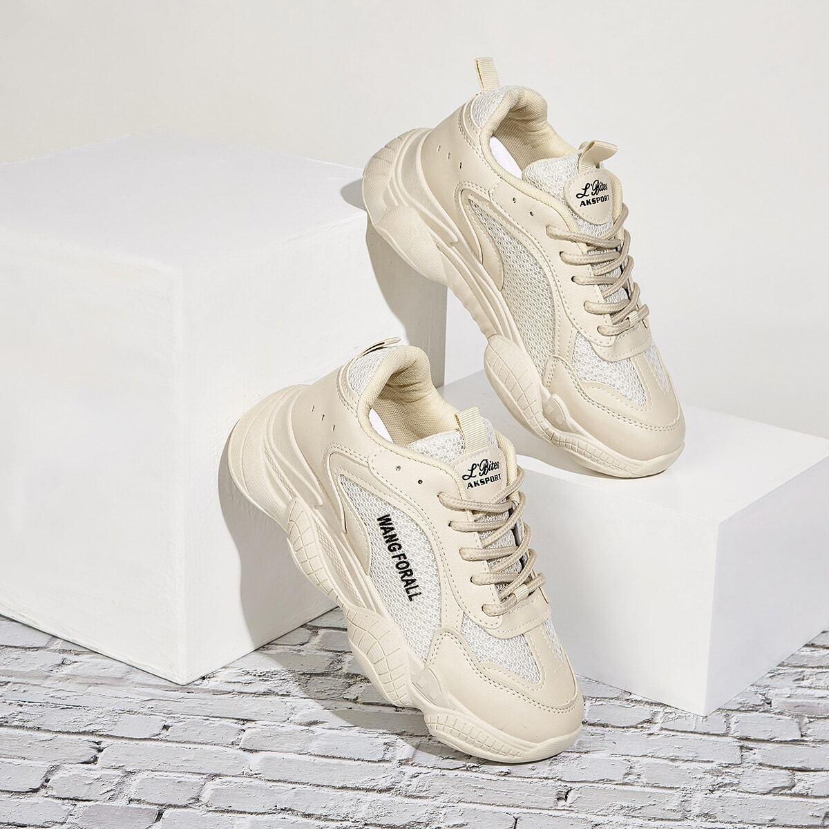 Сетчатые кроссовки на платформе и шнурках от SHEIN