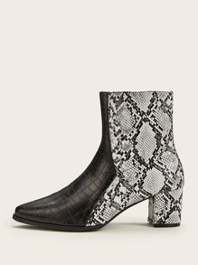 Point Toe Animal Scarf Print Chunky Boots