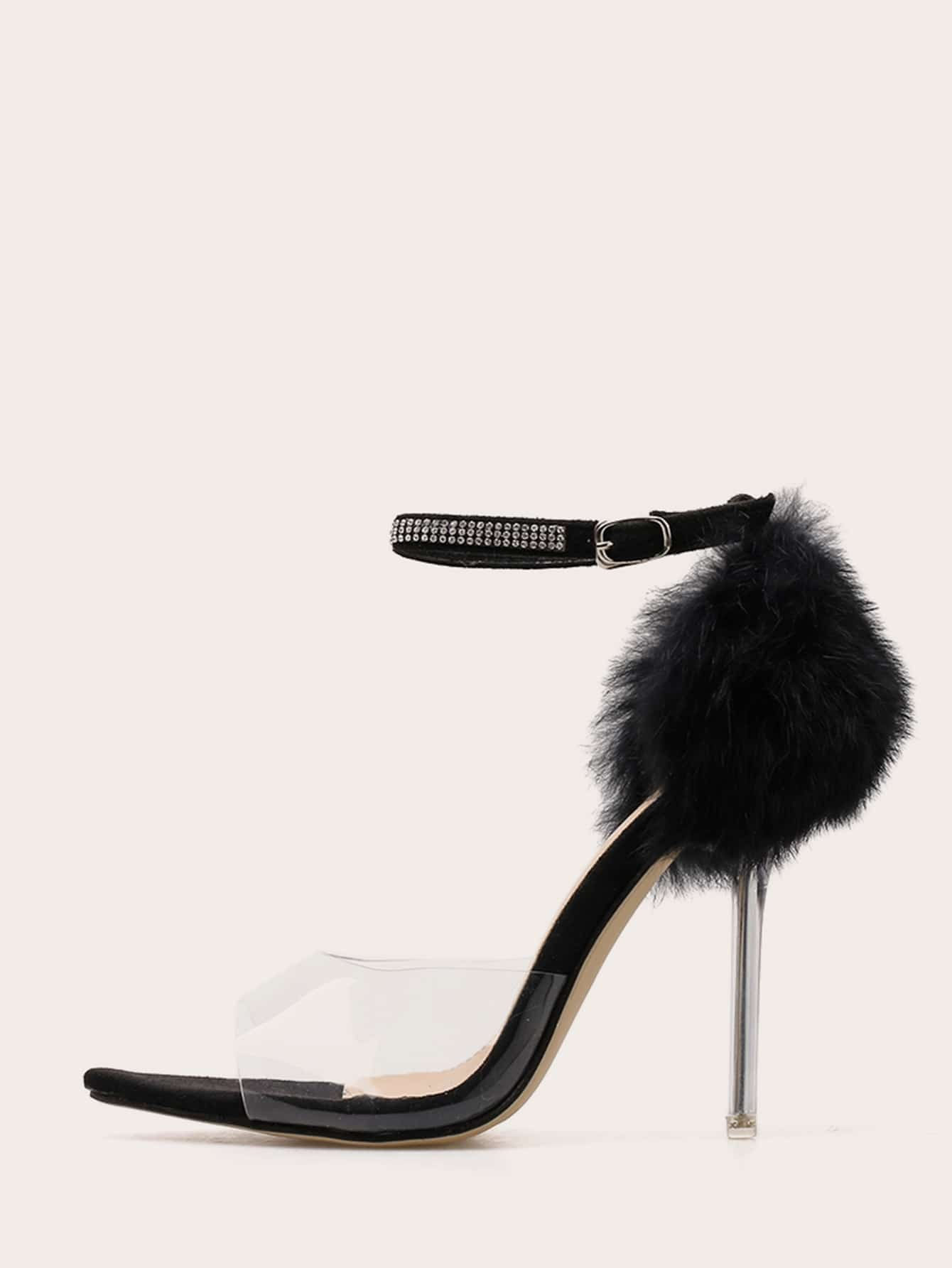 Ankle Strap Faux Fur Decor Stiletto Heels