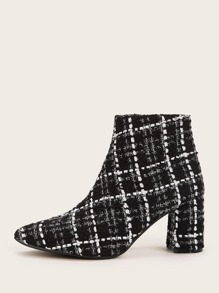Point Toe Side Zip Plaid Chunky Boots