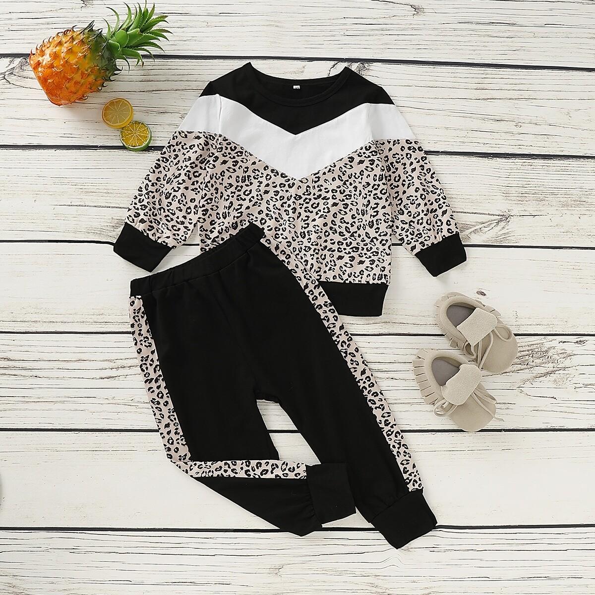 Контрастный леопардовый свитшот и спортивные брюки для девочек от SHEIN