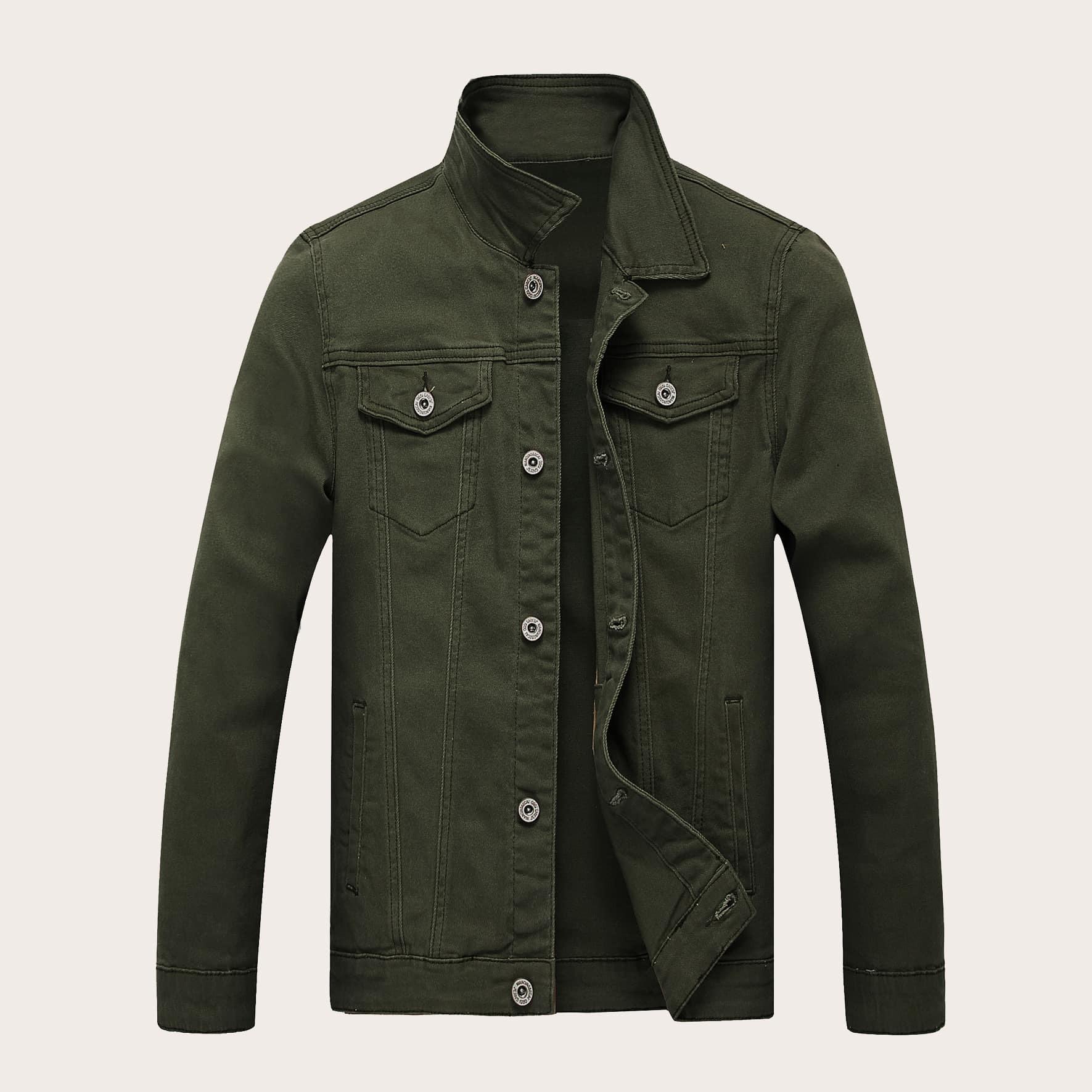 Leger groen Casual Vlak Heren Jeans jassen Knoop