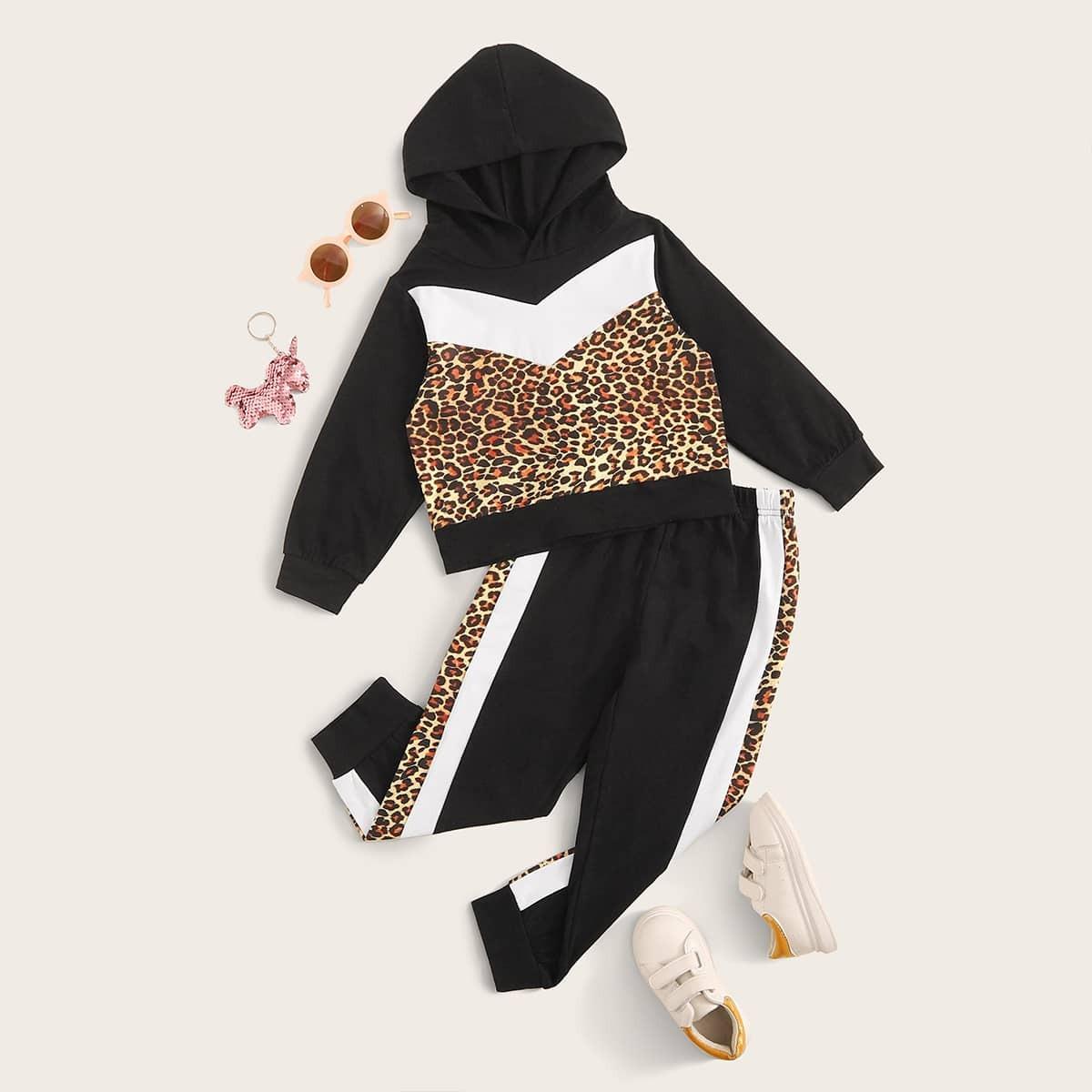 Контрастная леопардовая толстовка и спортивные брюки для девочек от SHEIN