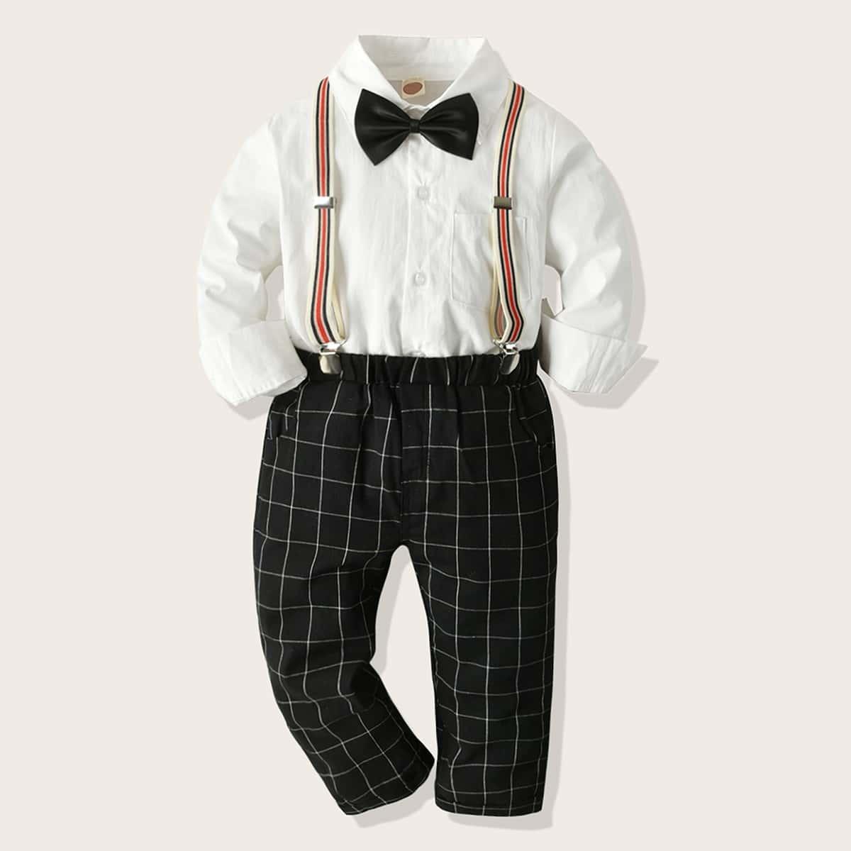Клетчатые брюки и топ с бантом для мальчиков от SHEIN