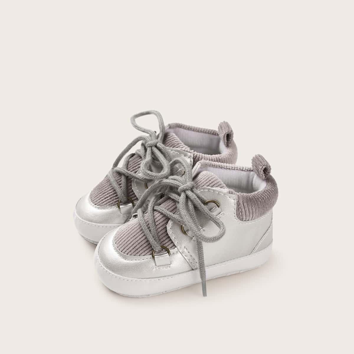 Zilver Comfortabel Baby sneakertjes Kant