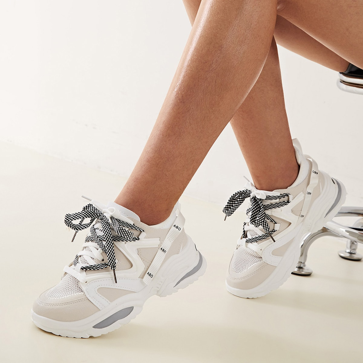 Grijs Comfortabel sneakers Kant