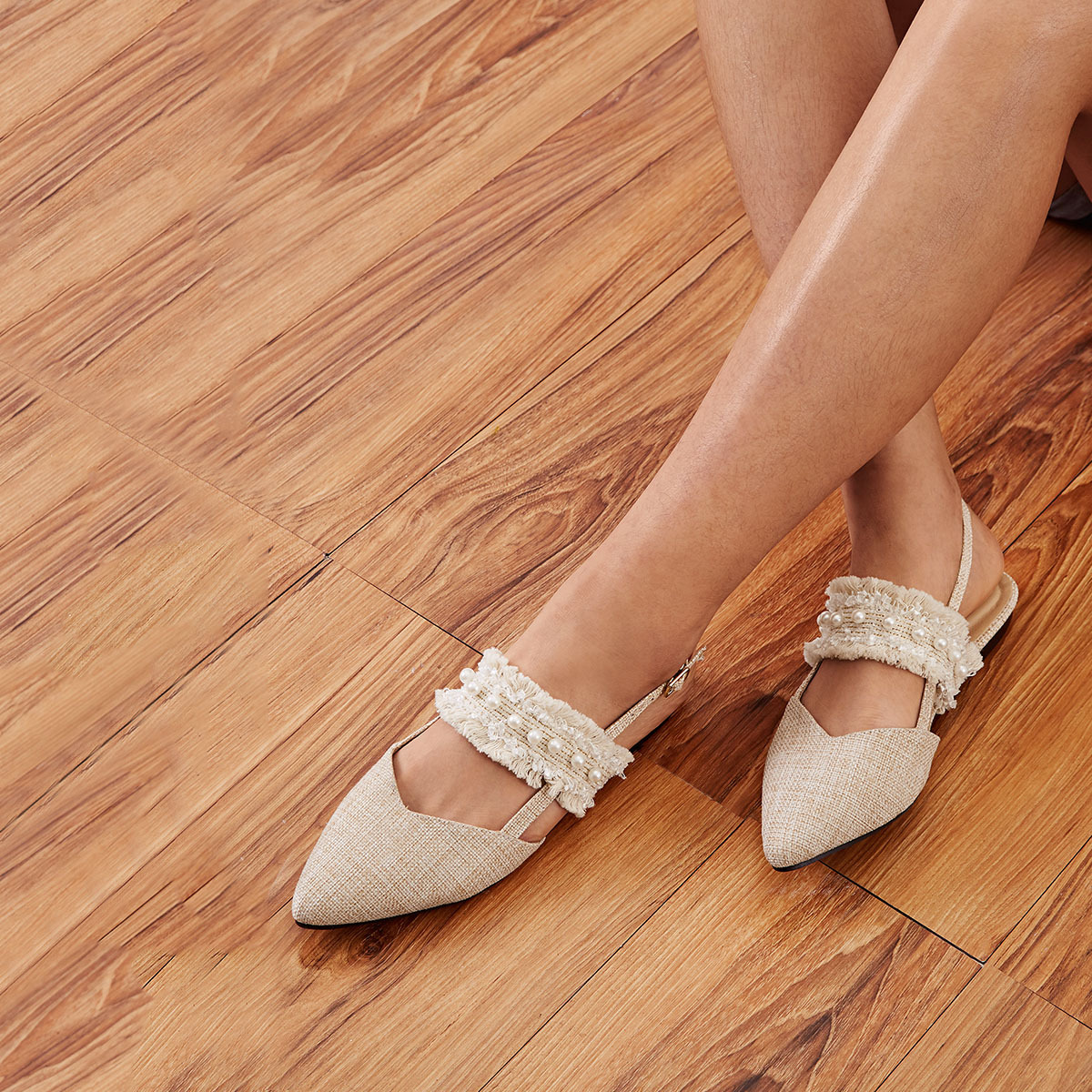 Abrikoos Comfortabel Ballerina's