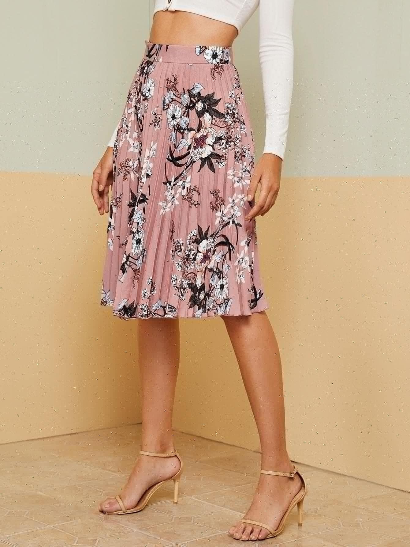 SHEIN / Falda fruncido con estampado floral de cintura ancha