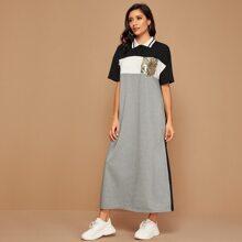 Contrast Sequin Pocket Colorblock Polo Dress