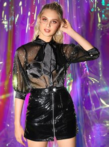Glitter Tie Neck Sheer Mesh Blouse