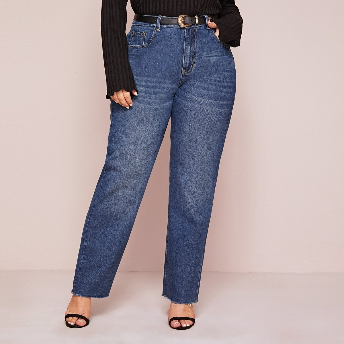 Blauw Casual Vlak Grote maten: jeans Ruwe hem