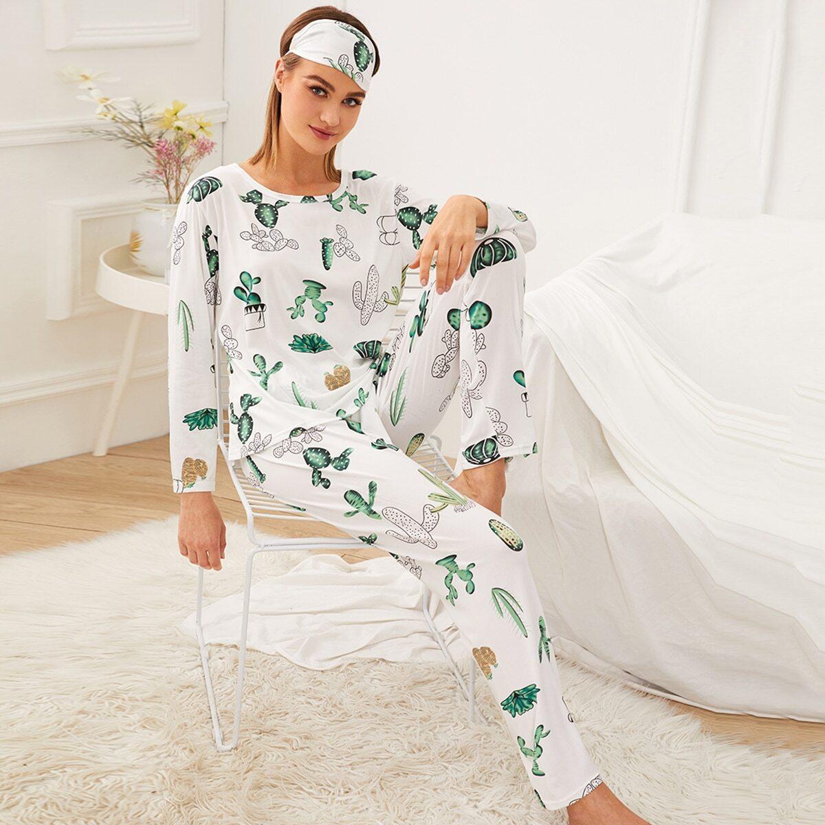 Cactus print pyjama set met oogmasker