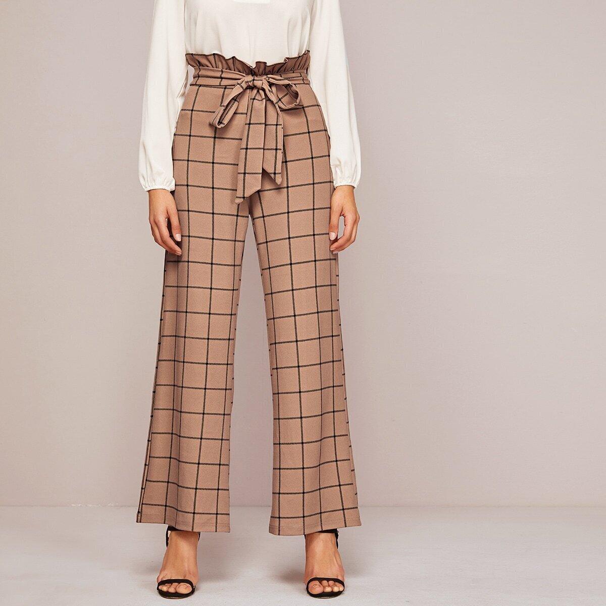 SHEIN / Pantalones anchos de cuadros con cinturón de cintura con volante