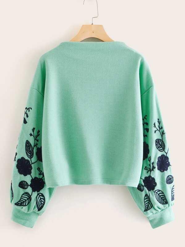 Floral Embroidered Drop Shoulder Sweatshirt