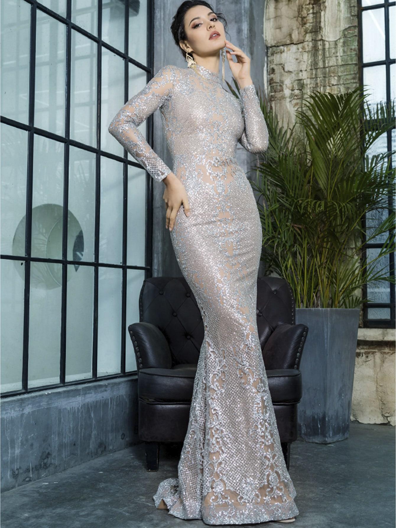 LOVE&LEMONADE сетчатое платье-русалка с блестками