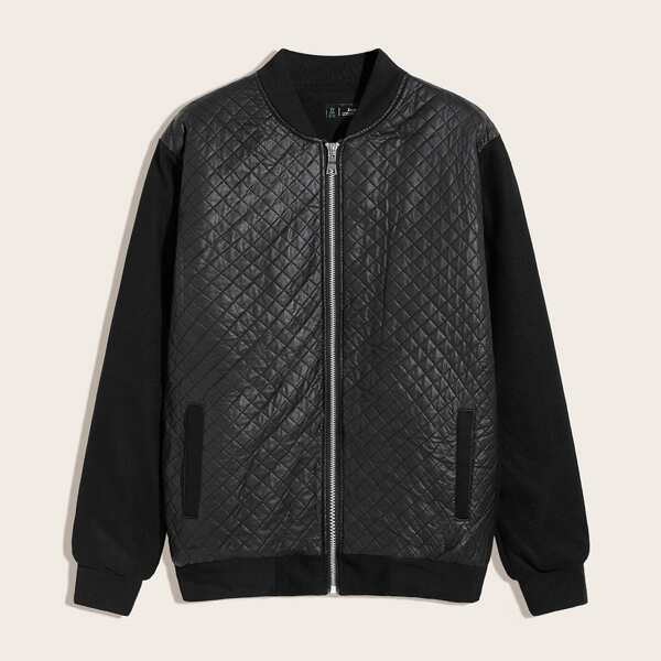 Men Zip Up Quilted Bomber jacket