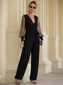Contrast Mesh Bishop Sleeve Belted Jumpsuit