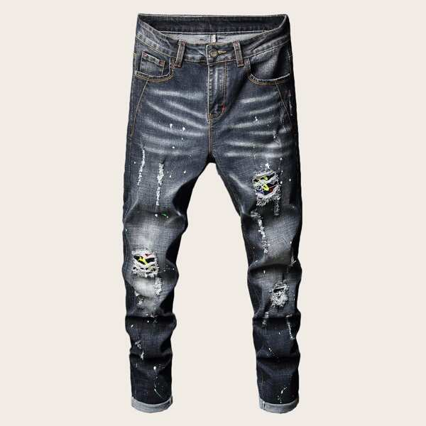 Men Ink Point Print Ripped Skinny Jeans