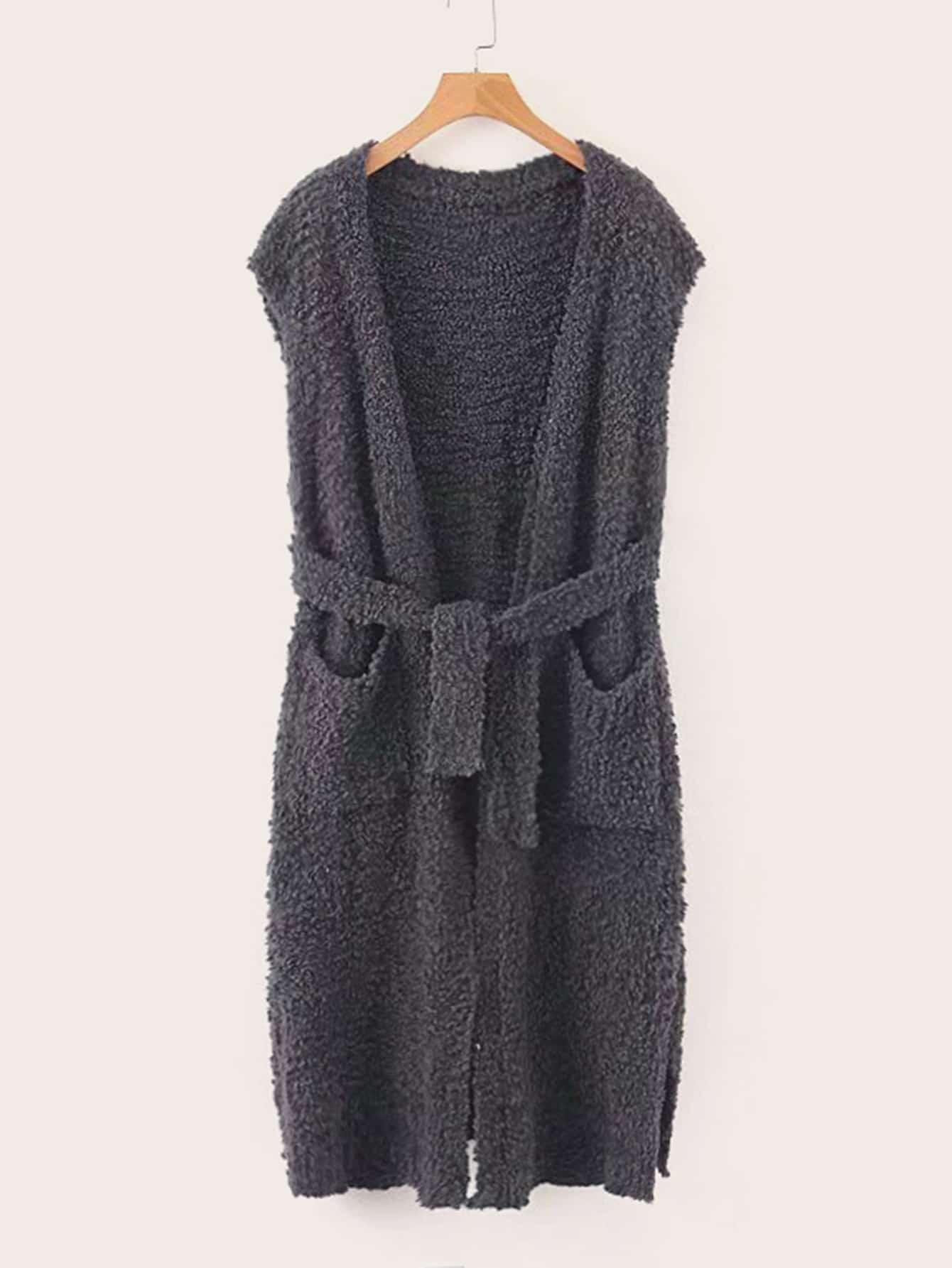 Плюшевое пальто-жилет с карманом и поясом