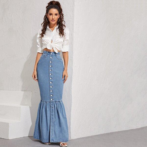 Button Front Fishtail Hem Denim Skirt, Blue pastel
