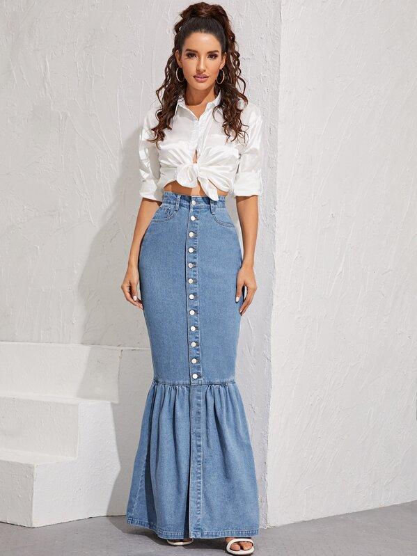 Button Front Fishtail Hem Denim Skirt, Blue, Juliana