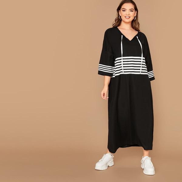 Plus Drop Shoulder Striped Hoodie Dress, Black