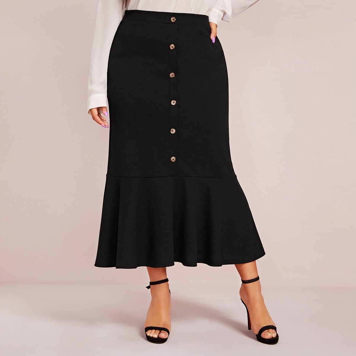 SHEIN / Falda bajo fruncido con diseño de botón de lado con cremallera - grande