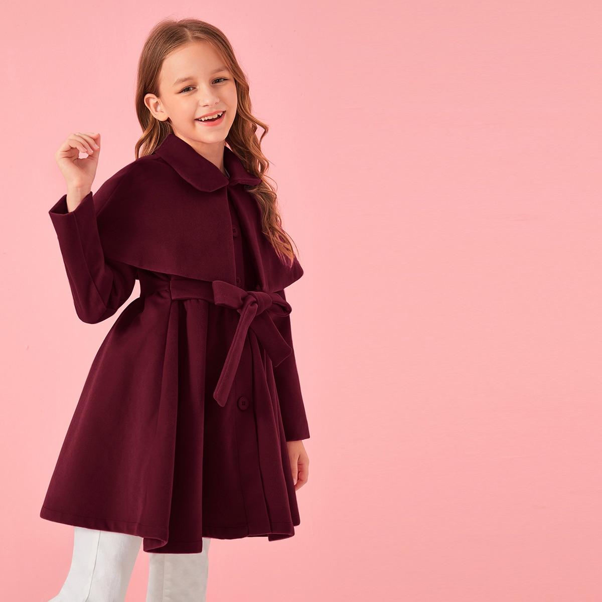 Пальто на пуговицах с узлом для девочек от SHEIN