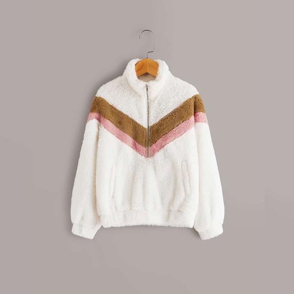 Girls Zip Half Placket Chevron Sweatshirt