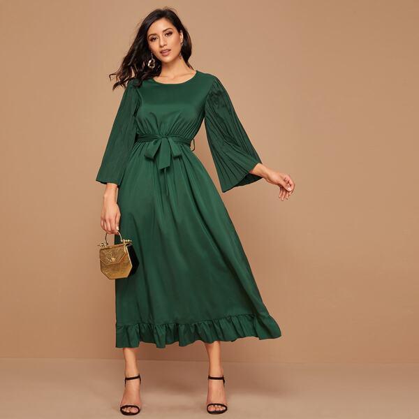 Pleated Sleeve Self Tie Ruffle Hem A-line Dress, Green