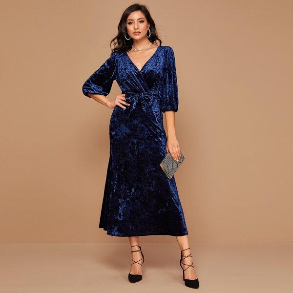 Surplice Neck Self Tie Velvet A-line Dress, Navy