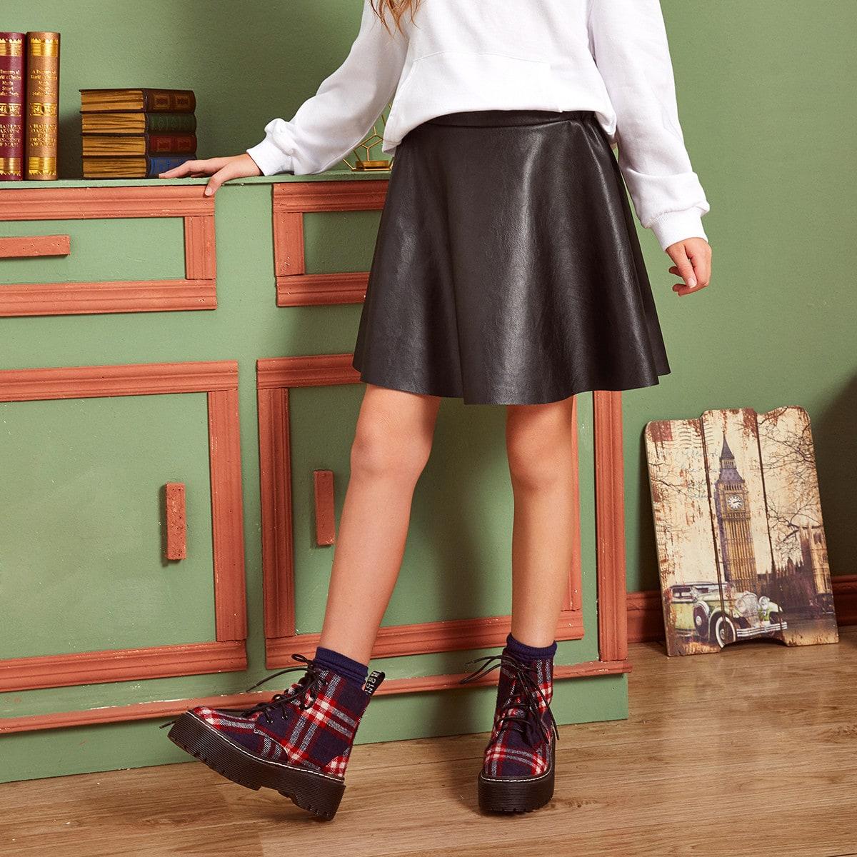Однотонная юбка из искусственной кожи для девочек от SHEIN