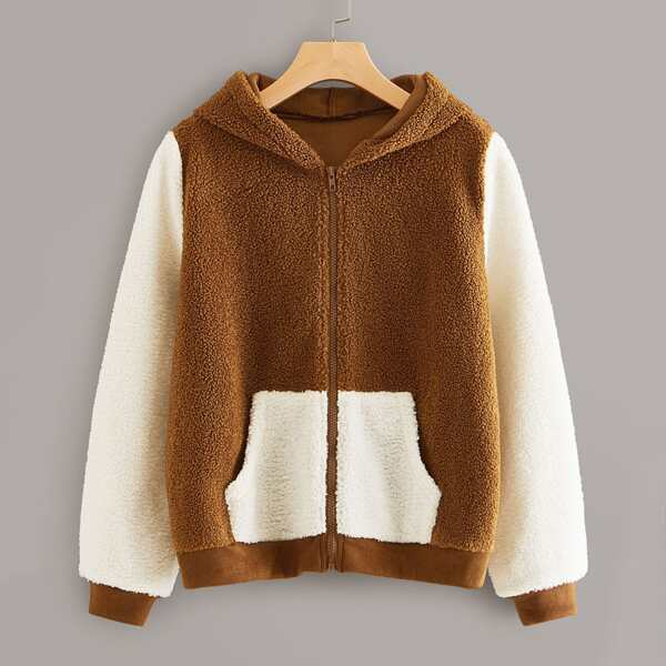 Color-block Pocket Front Zip-up Hooded Teddy Jacket, Brown