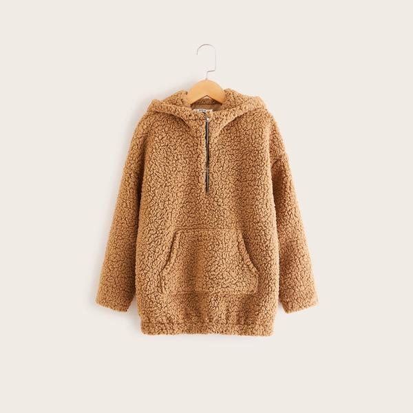 Girls Zip Half Placket Pocket Front Teddy Sweatshirt