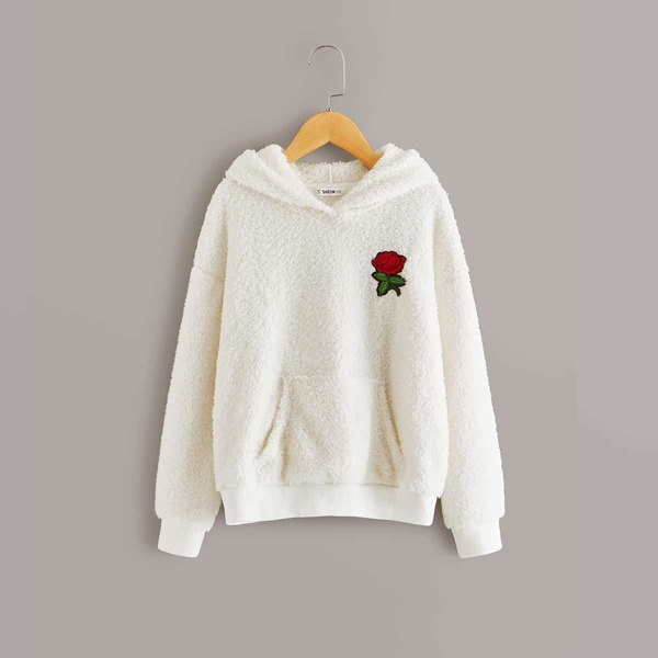 Girls Embroidered Rose Applique Pocket Front Teddy Hoodie
