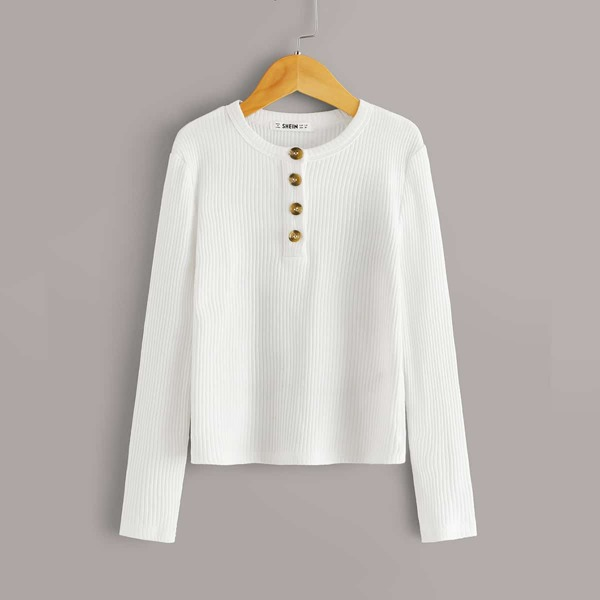 Girls Buttoned Half Placket Ribbed Tee