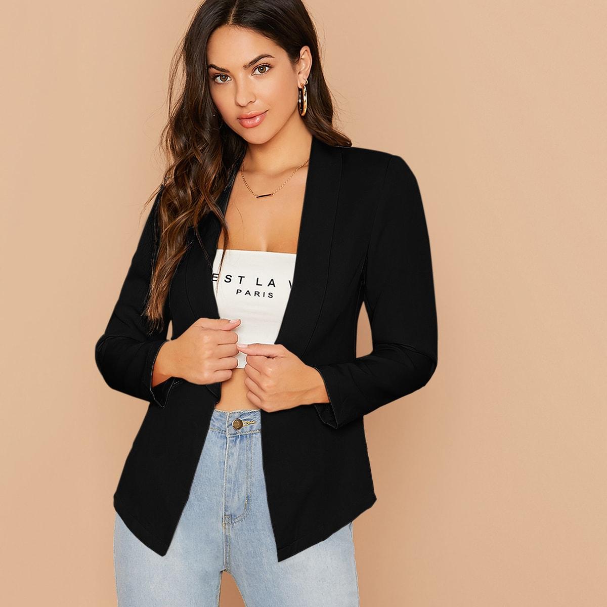 Однотонный пиджак с оригинальным воротником от SHEIN