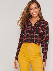Chain Print Button Front Blouse