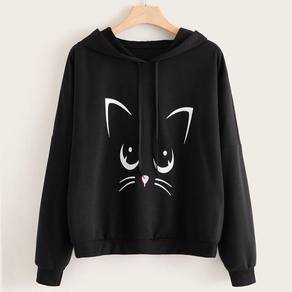 Plus Cat Print Drop Shoulder Drawstring Hoodie, Black