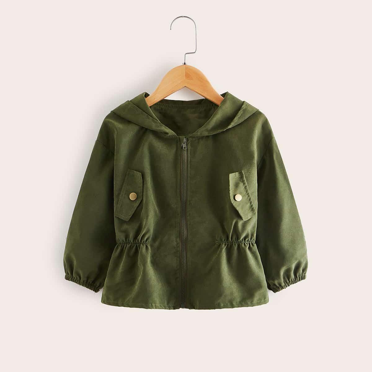 Куртка с капюшоном и карманом для девочек от SHEIN