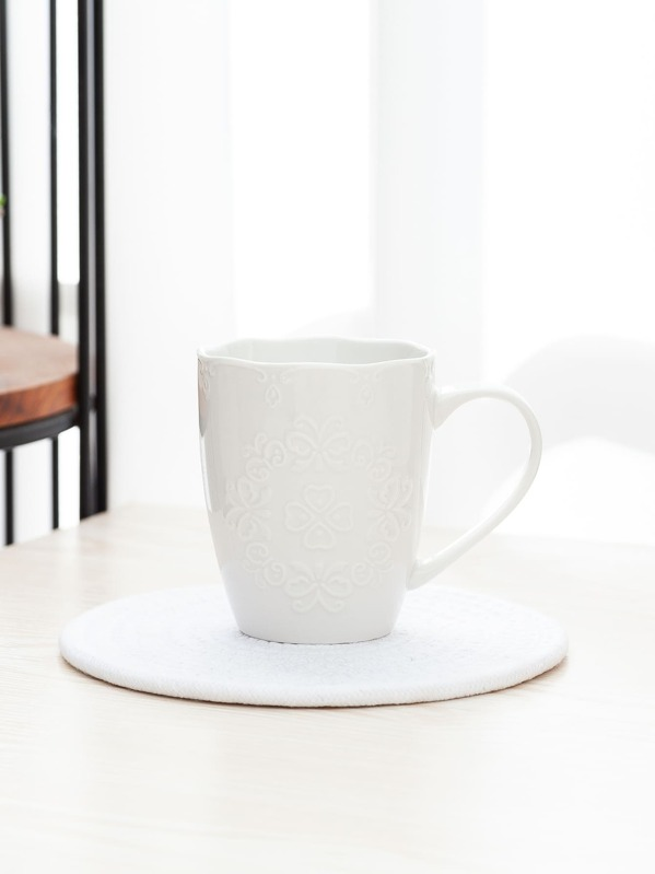 Embossed Butterfly Pattern Ceramic Cup