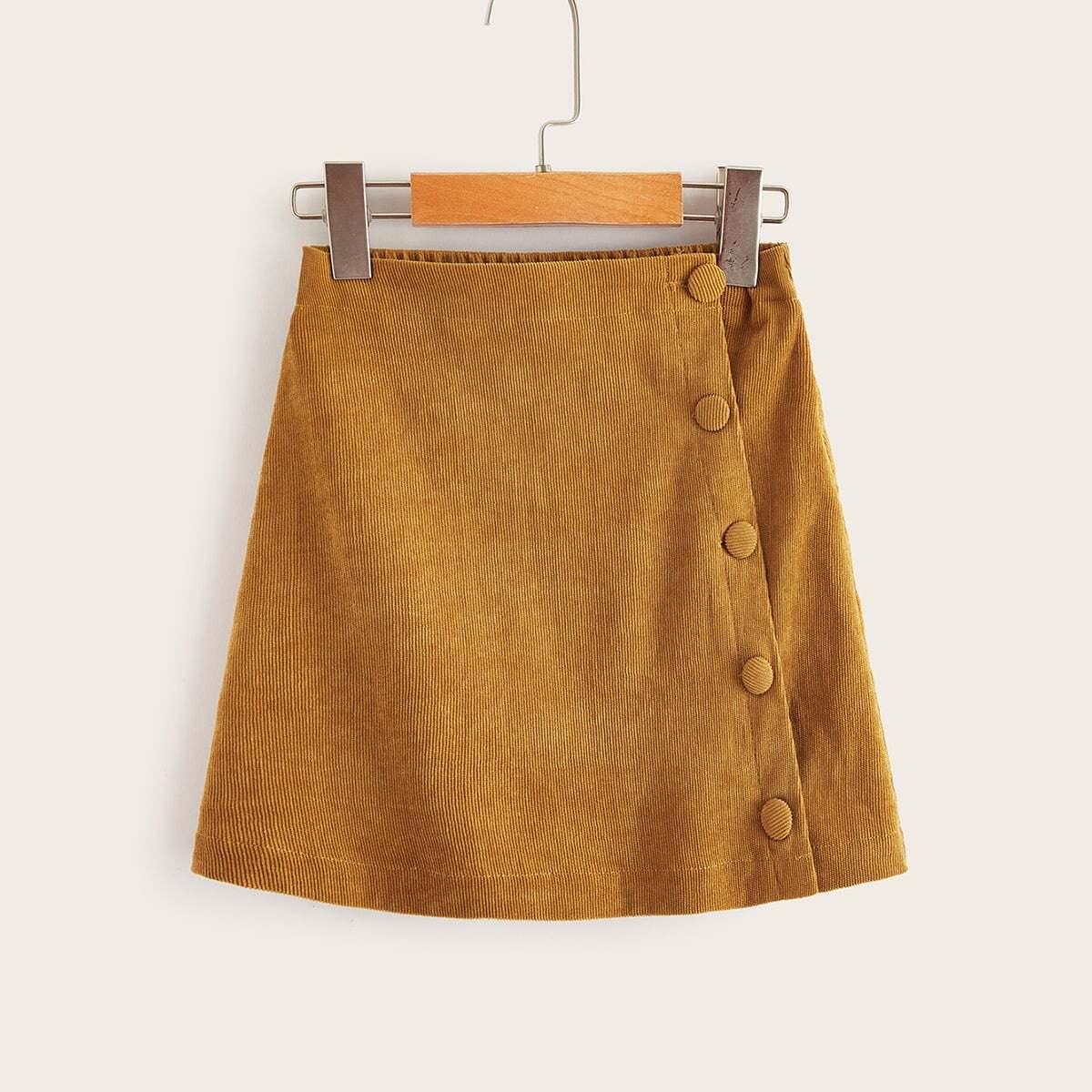 Вельветовая юбка на пуговицах для девочек от SHEIN