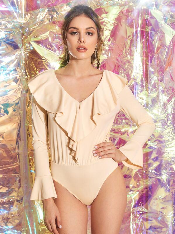 Ruffle Trim Flounce Sleeve Bodysuit, Vlada