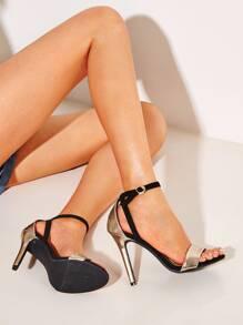 Stiletto | Metallic | Ankle | Strap | Heel
