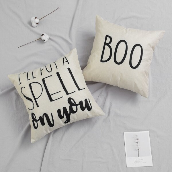 Slogan Graphic Cushion Cover