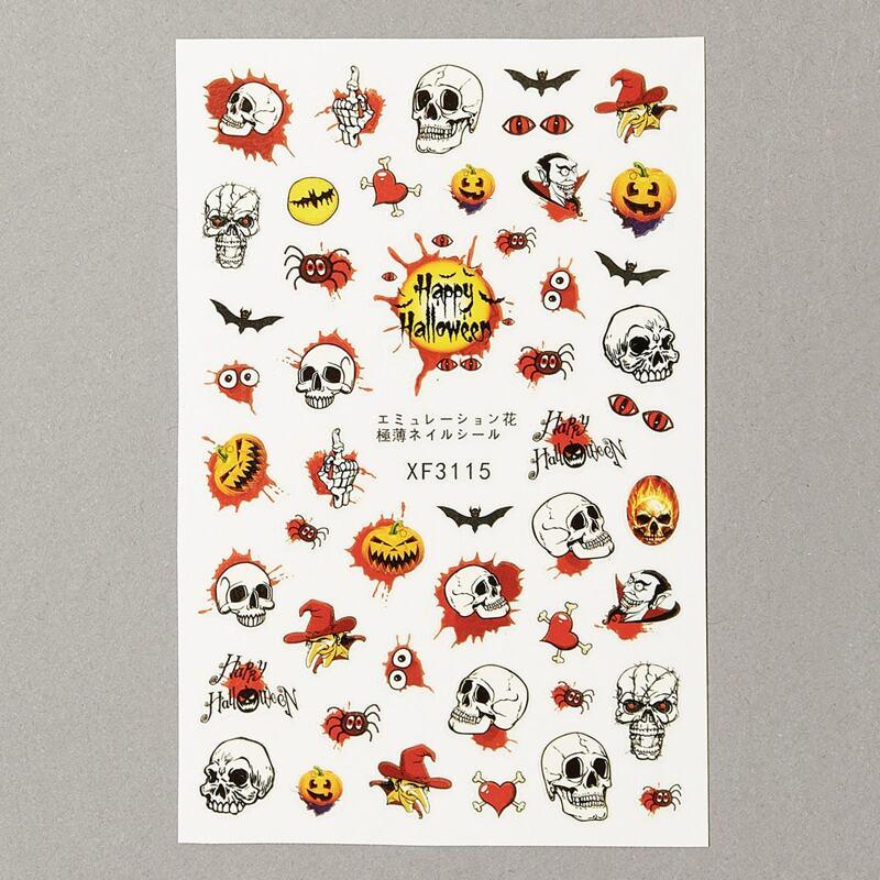 Halloween Skull Pattern Nail Stickers, Multicolor