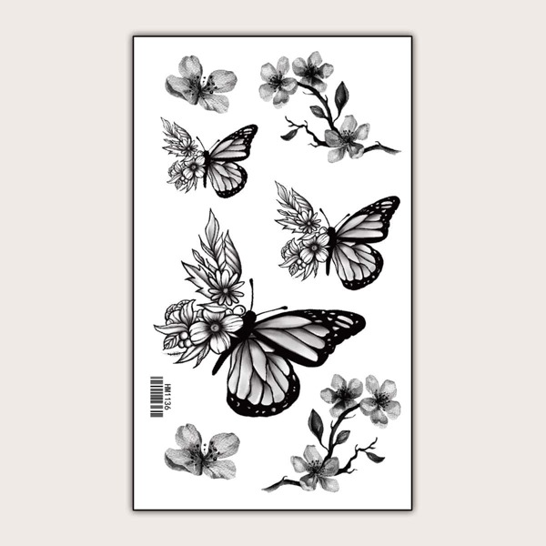 Butterfly & Flower Pattern Tattoo Sticker