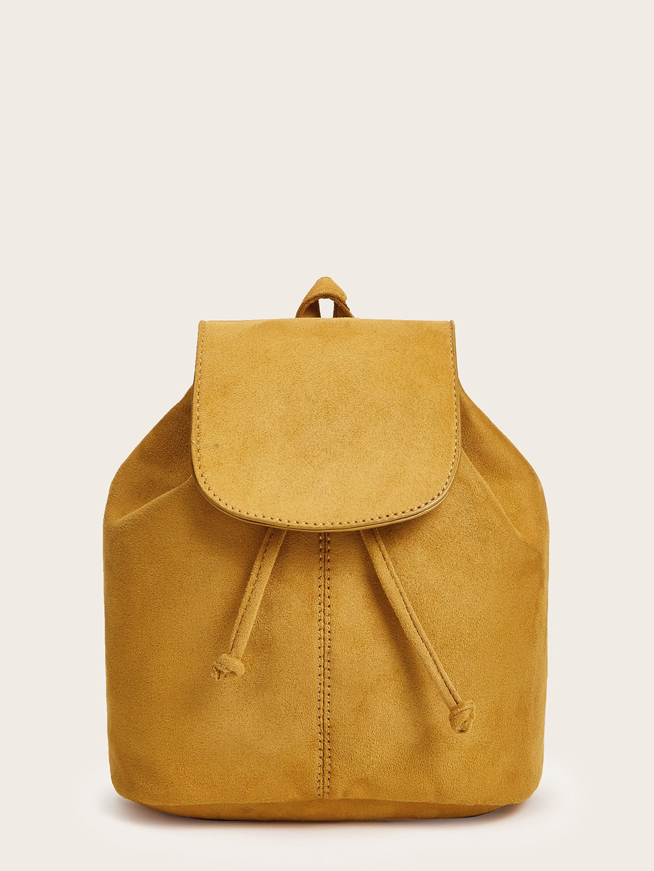 Suede Plain Backpack With Drawstring